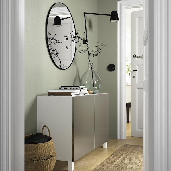 BESTÅ Opbevaring med låger, hvid/Riksviken/Stubbarp lyst bronzemønster, 120x42x74 cm
