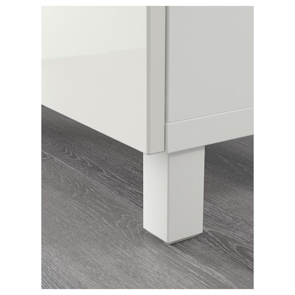BESTÅ Opbevaring med låger, hvid/Selsviken højglans/hvid, 180x40x74 cm