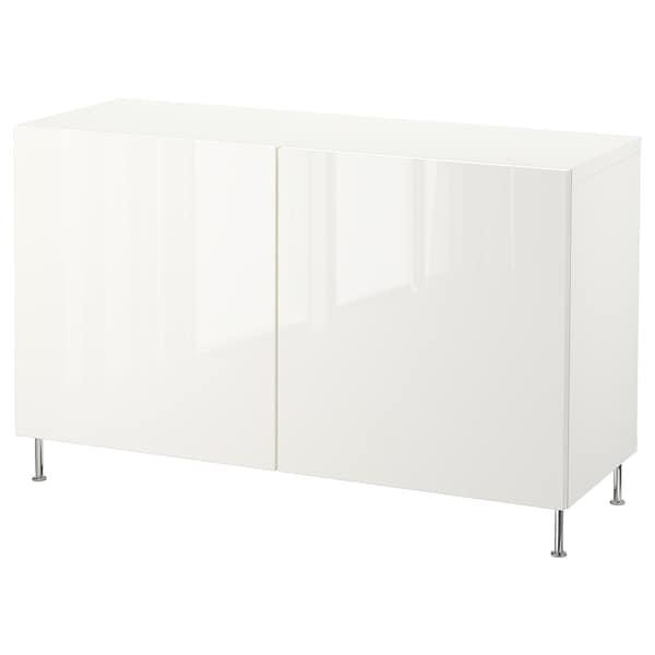 BESTÅ Opbevaring med låger, hvid/Selsviken/Stallarp højglans/hvid, 120x40x74 cm