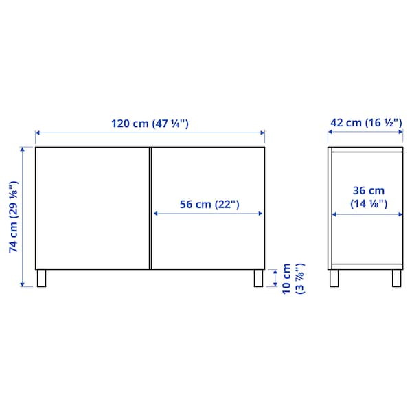 BESTÅ Opbevaring med låger, hvid Selsviken/Stubbarp/højglans lys gråblå, 120x42x74 cm