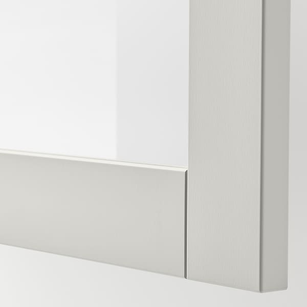 BESTÅ Opbevaring med låger, hvid/Sindvik lysegråt klart glas, 180x42x65 cm