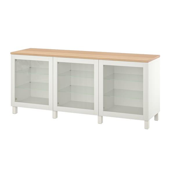 BESTÅ Opbevaring med låger, hvid/Sindvik/Stubbarp hvidt klart glas, 180x42x76 cm