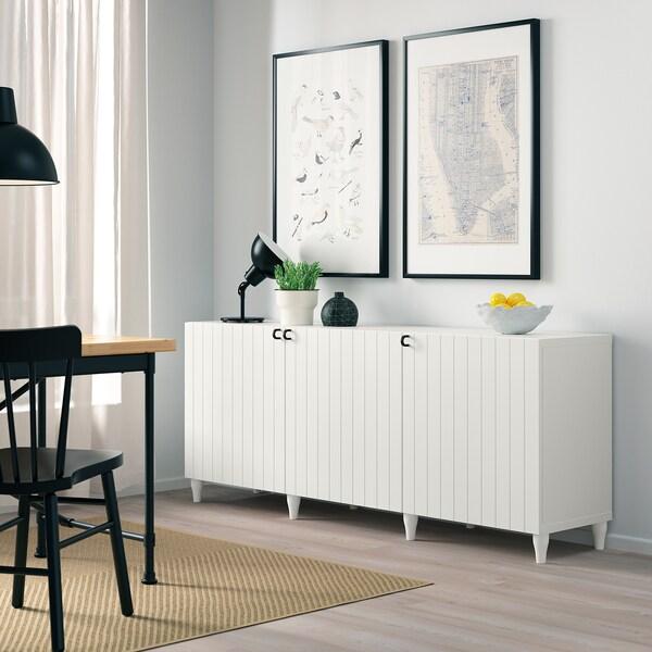 BESTÅ Opbevaring med låger, hvid/Sutterviken/Kabbarp hvid, 180x42x74 cm