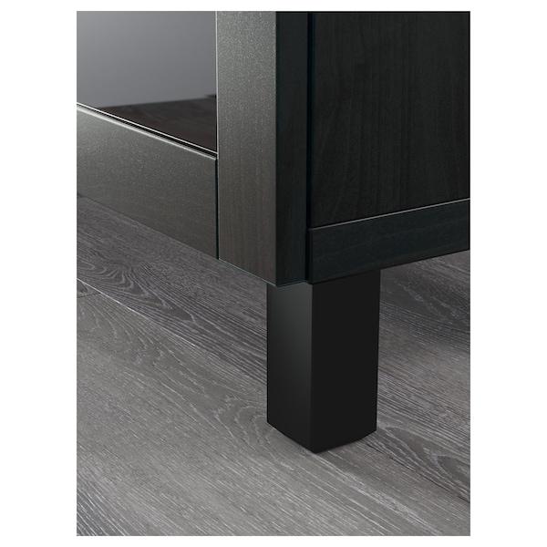 BESTÅ Opbevaring med låger, Sindvik sortbrunt klart glas, 180x40x74 cm