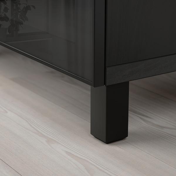BESTÅ Opbevaring med låger, sortbrun/Glassvik sort/klart glas, 180x40x74 cm