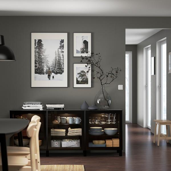 BESTÅ Opbevaring med låger, sortbrun/Glassvik/Stubbarp sort/klart glas, 180x42x74 cm