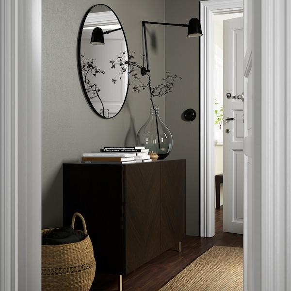 BESTÅ Opbevaring med låger, sortbrun Hedeviken/Ösarp/mørkebrun egetræsfiner med bejdse, 120x42x74 cm
