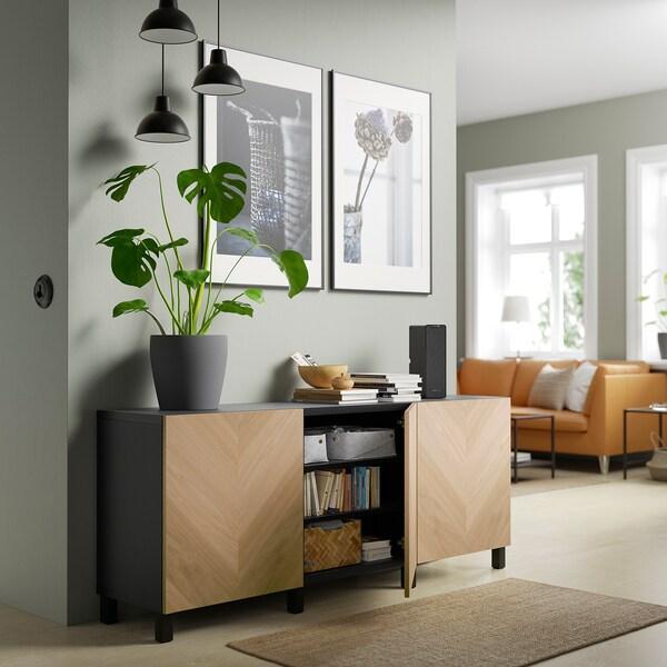 BESTÅ Opbevaring med låger, sortbrun/Hedeviken/Stubbarp egetræsfiner, 180x42x74 cm