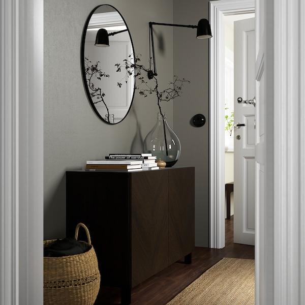 BESTÅ Opbevaring med låger, sortbrun Hedeviken/Stubbarp/mørkebrun egetræsfiner med bejdse, 120x42x74 cm