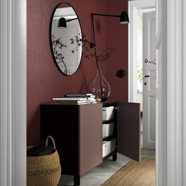 BESTÅ Opbevaring med låger, sortbrun/Hjortviken/Stubbarp brun, 120x42x74 cm