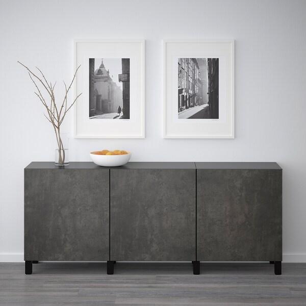 BESTÅ Opbevaring med låger, sortbrun Kallviken/mørkegrå betonmønstret, 180x42x65 cm