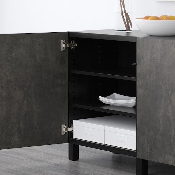 BESTÅ Opbevaring med låger, sortbrun Kallviken/Stubbarp/mørkegrå betonmønstret, 180x42x74 cm