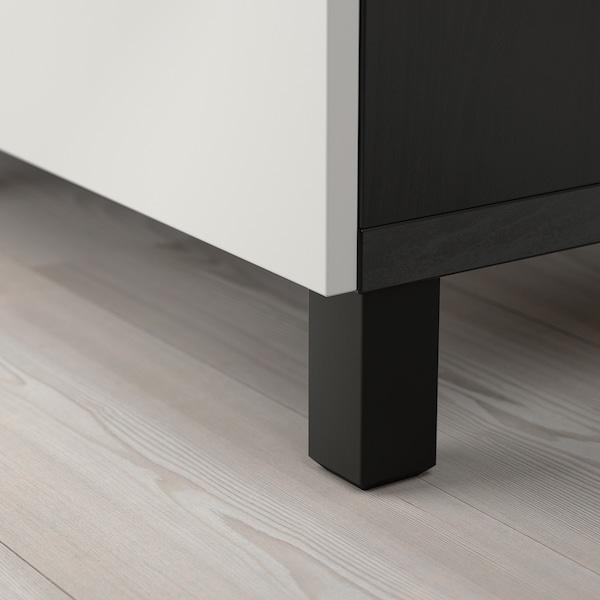 BESTÅ Opbevaring med låger, sortbrun/Lappviken lysegrå, 180x40x74 cm