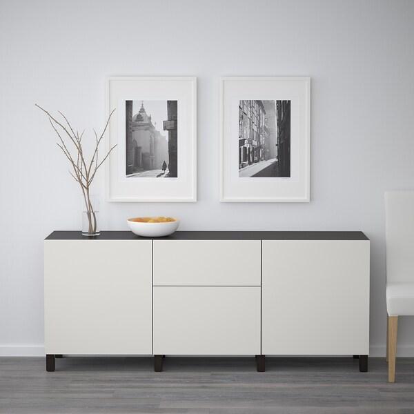 BESTÅ Opbevaring med låger, sortbrun/Lappviken lysegrå, 180x42x65 cm