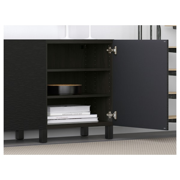 BESTÅ Opbevaring med låger, sortbrun/Laxviken/Stubbarp sort, 180x42x74 cm