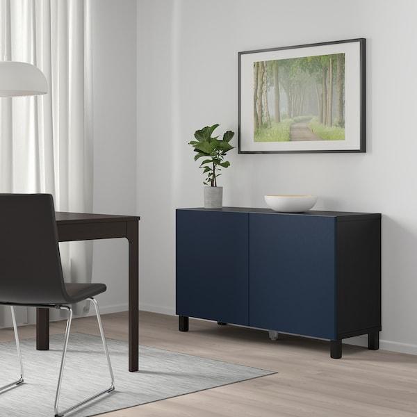 BESTÅ Opbevaring med låger, sortbrun/Notviken blå, 120x42x65 cm