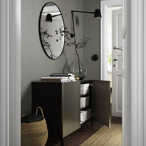 BESTÅ Opbevaring med låger, sortbrun/Riksviken/Nannarp lyst bronzemønster, 120x42x74 cm
