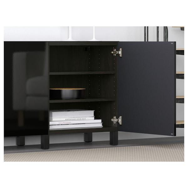 BESTÅ Opbevaring med låger, sortbrun/Selsviken højglans/sort, 180x40x74 cm