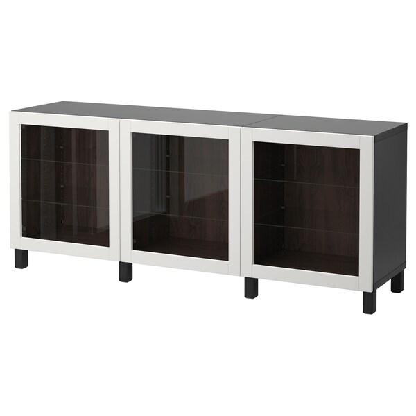 BESTÅ Opbevaring med låger, sortbrun/Sindvik lysegråt klart glas, 180x40x74 cm