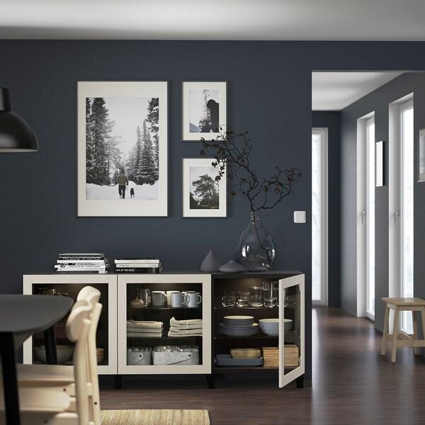 BESTÅ Opbevaring med låger, sortbrun Sindvik/Stubbarp/lys gråbeige klart glas, 180x42x74 cm