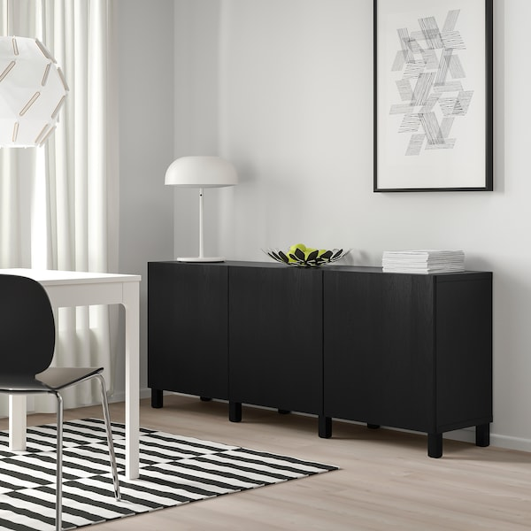 BESTÅ Opbevaring med låger, sortbrun/Timmerviken/Stubbarp sort, 180x42x74 cm