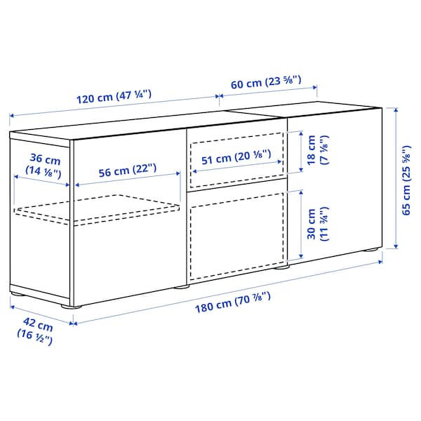 BESTÅ Opbevaring med skuffer, hvid/Hanviken hvid, 180x42x65 cm