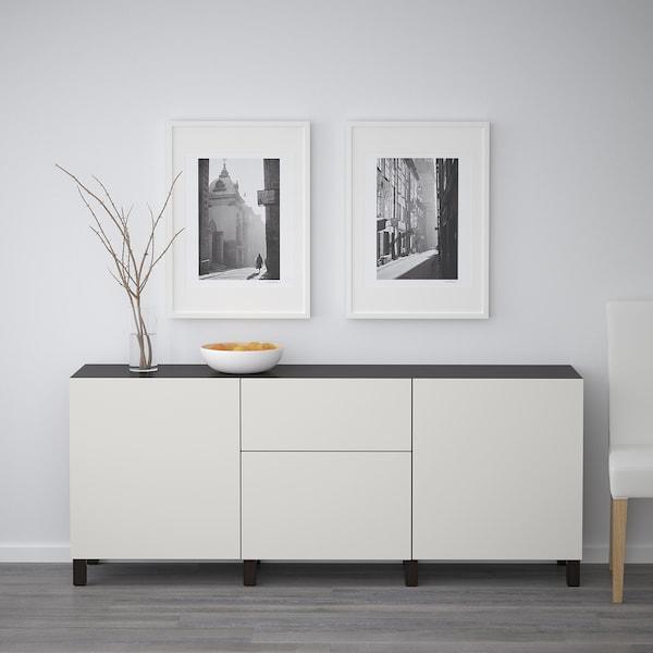 BESTÅ Opbevaring med skuffer, sortbrun/Lappviken lysegrå, 180x40x74 cm