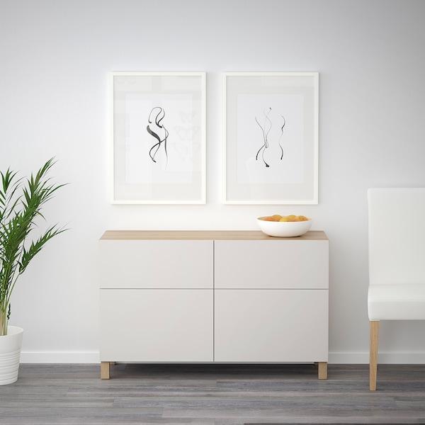 BESTÅ Opbevaringskom låger/skuffer, egetræsmønster med hvid bejdse/Lappviken lysegrå, 120x40x74 cm