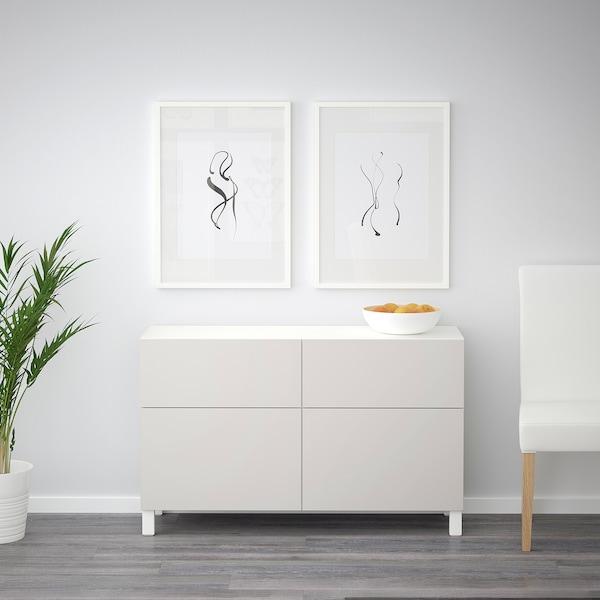 BESTÅ Opbevaringskom låger/skuffer, hvid/Lappviken lysegrå, 120x40x74 cm