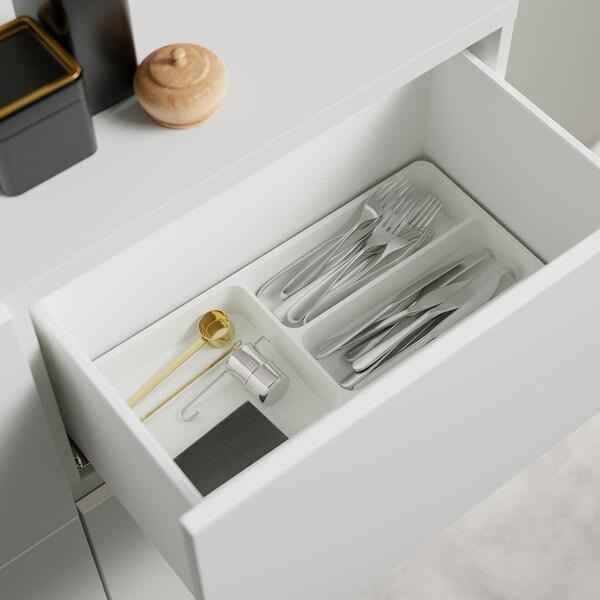 BESTÅ Opbevaringskom låger/skuffer, hvid/Lappviken/Stubbarp hvidt klart glas, 120x42x213 cm