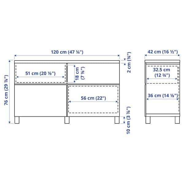 BESTÅ Opbevaringskom låger/skuffer, hvid/Smeviken/Kabbarp hvid, 120x42x76 cm