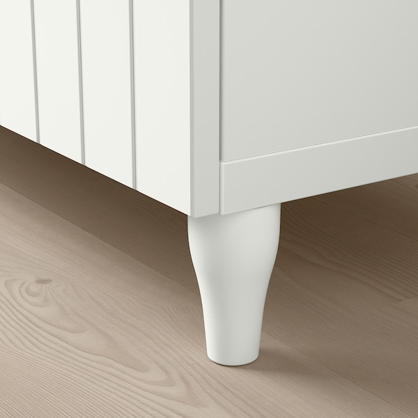 BESTÅ Opbevaringskom låger/skuffer, hvid/Sutterviken/Kabbarp hvidt klart glas, 120x42x240 cm