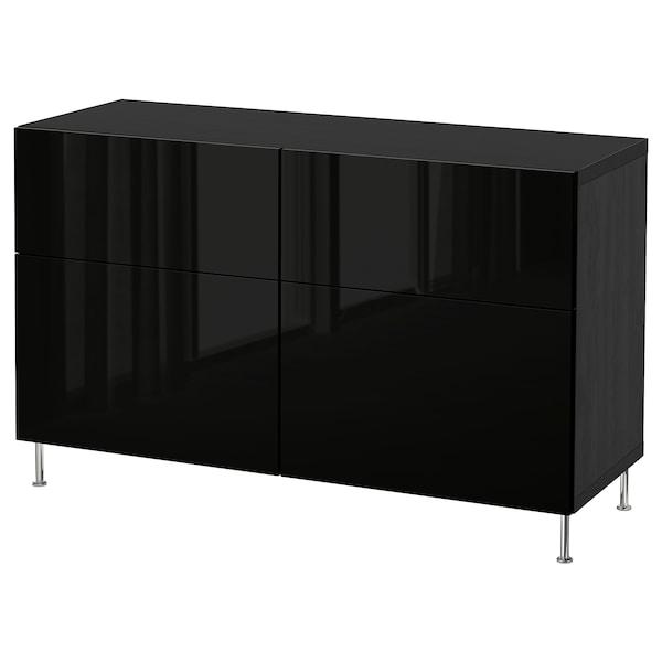 BESTÅ Opbevaringskom låger/skuffer, sortbrun/Selsviken/Stallarp højglans/sort, 120x40x74 cm