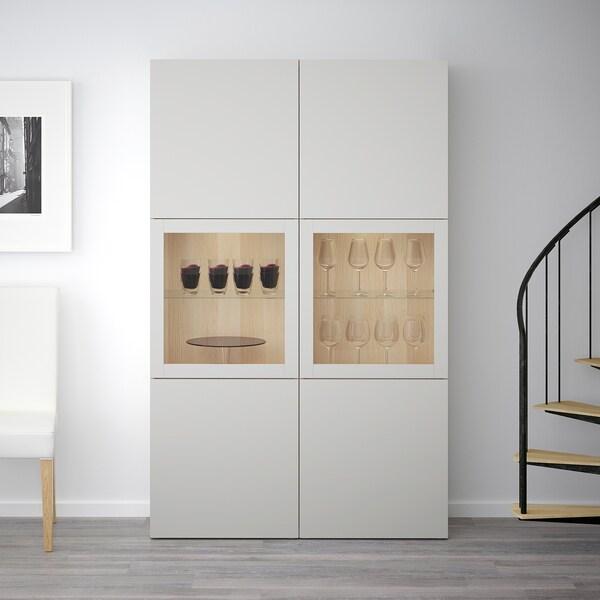BESTÅ Opbevaringsløsning med vitrinelåger, egetræsmønster med hvid bejdse/Lappviken lysegråt klart glas, 120x40x192 cm