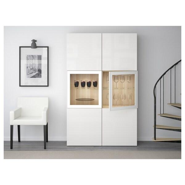 BESTÅ Opbevaringsløsning med vitrinelåger, egetræsmønster med hvid bejdse/Selsviken højglans/hvidt klart glas, 120x40x192 cm