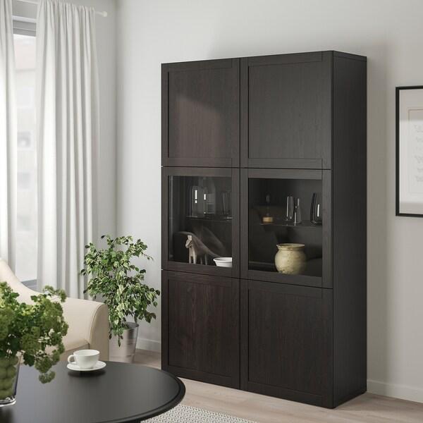 BESTÅ Opbevaringsløsning med vitrinelåger, Hanviken/Sindvik sortbrunt klart glas, 120x40x192 cm