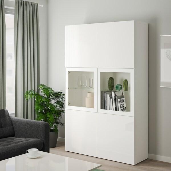 BESTÅ Opbevaringsløsning med vitrinelåger, hvid/Selsviken højglans/hvidt klart glas, 120x40x192 cm