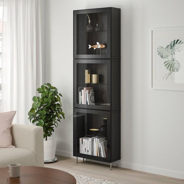 BESTÅ Opbevaringsløsning med vitrinelåger, sortbrun/Glassvik/Stallarp sort/klart glas, 60x22x202 cm