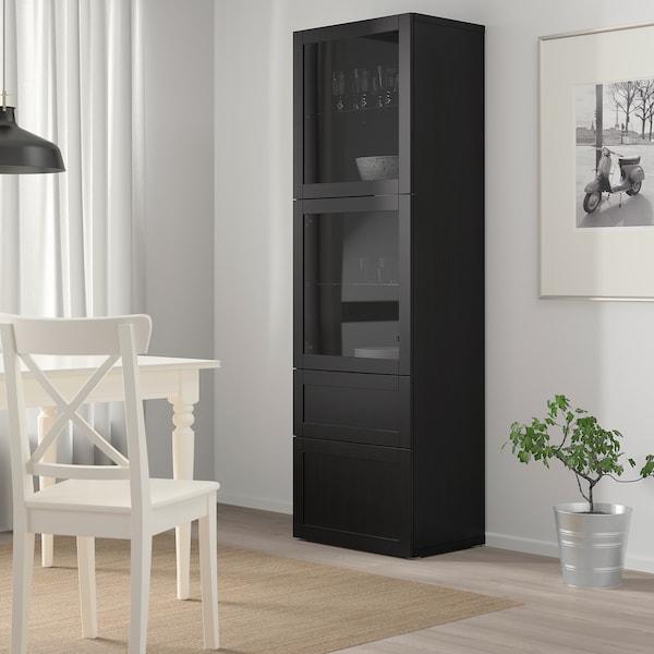 BESTÅ Opbevaringsløsning med vitrinelåger, sortbrun/Hanviken sortbrunt klart glas, 60x42x193 cm