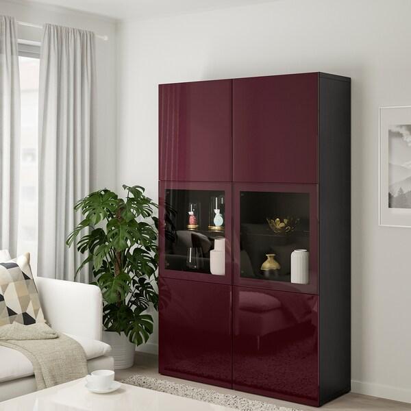 BESTÅ Opbevaringsløsning med vitrinelåger, sortbrun Selsviken/mørk rødbrun klart glas, 120x42x192 cm