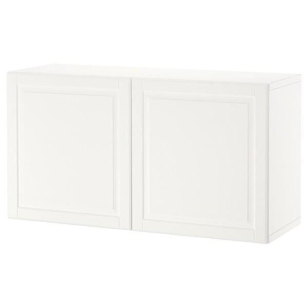 BESTÅ Reol med døre, hvid/Smeviken hvid, 120x42x64 cm