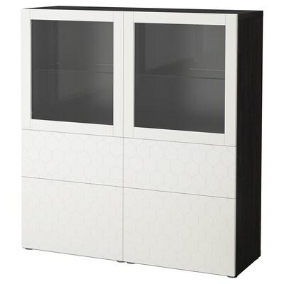 BESTÅ opbevaringsløsning med vitrinelåger sortbrun/Vassviken hvidt klart glas 120 cm 40 cm 128 cm