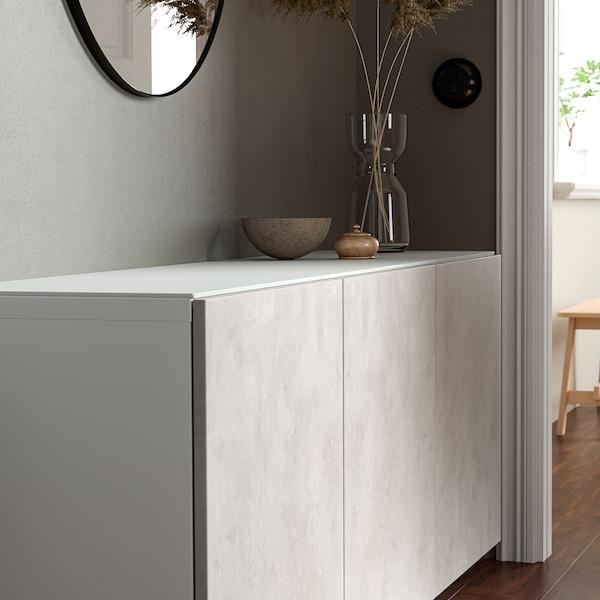 BESTÅ Topplade, glas hvid, 180x40 cm