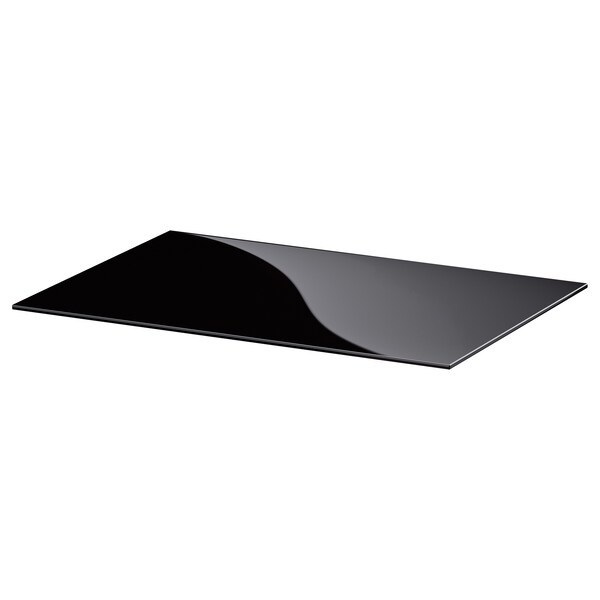 BESTÅ Topplade, glas sort, 60x40 cm