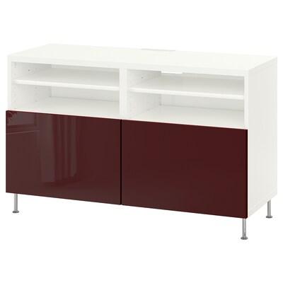 BESTÅ tv-bord med låger hvid Selsviken/Stallarp/højglans mørk rødbrun 120 cm 42 cm 74 cm 50 kg