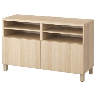 BESTÅ Tv-bord med låger, egetræsmønster med hvid bejdse/Lappviken/Stubbarp egetræsmønster med hvid bejdse, 120x42x74 cm