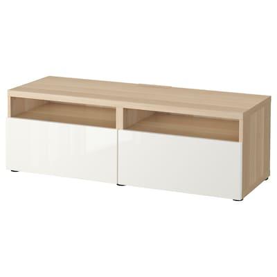 BESTÅ Tv-bord med skuffer, egetræsmønster med hvid bejdse/Selsviken højglans/hvid, 120x42x39 cm