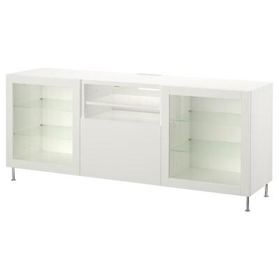 BESTÅ Tv-bord med skuffer, hvid/Lappviken/Stallarp hvidt klart glas, 180x42x74 cm