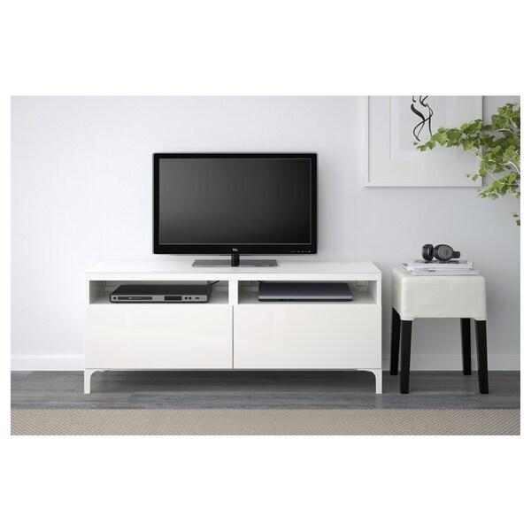 BESTÅ Tv-bord med skuffer, hvid/Selsviken højglans/hvid, 120x40x48 cm