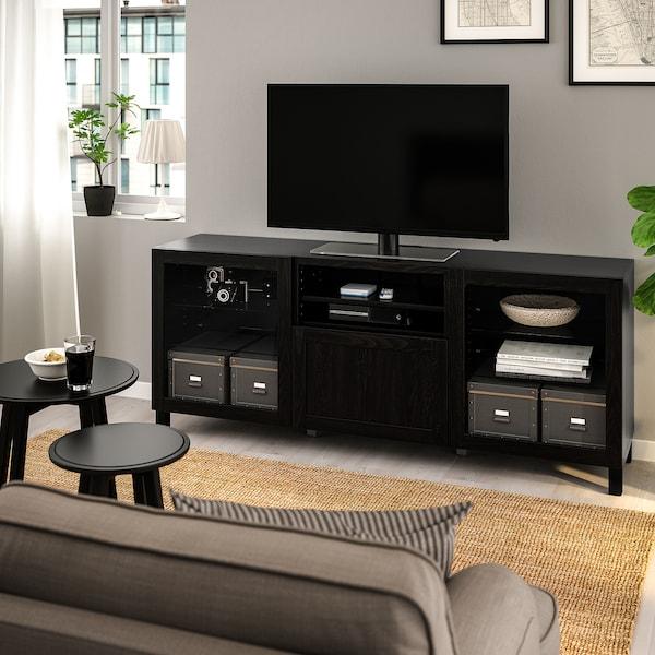 BESTÅ Tv-bord med skuffer, sortbrun/Hanviken/Stubbarp sortbrunt klart glas, 180x42x74 cm